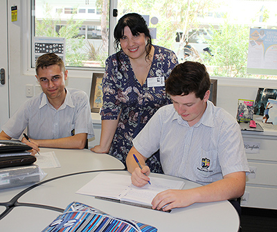 Tess Woods with Year 12 students at SVACS