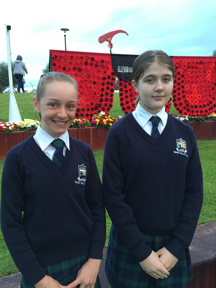 Year 6 students at the Combined Schools ANZAC Service