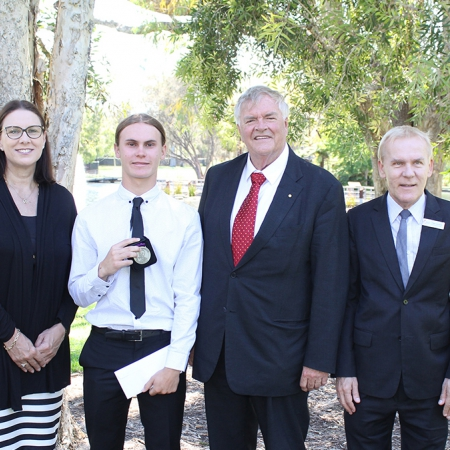 (L-R): Ms Melissa Powell, Principal, Swan Valley Anglican Community School); Jess Haydon, Beazley Medal: VET recipient; The Honourable Kim Beazley, AC Governor of Western Australia; The Reverend Peter Laurence OAM, Chief Executive Officer, Anglican School