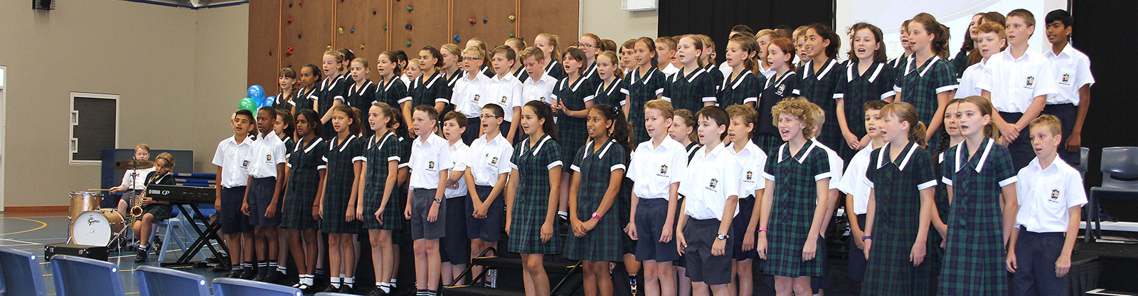 Year 6 singing at the Celebration Assembly