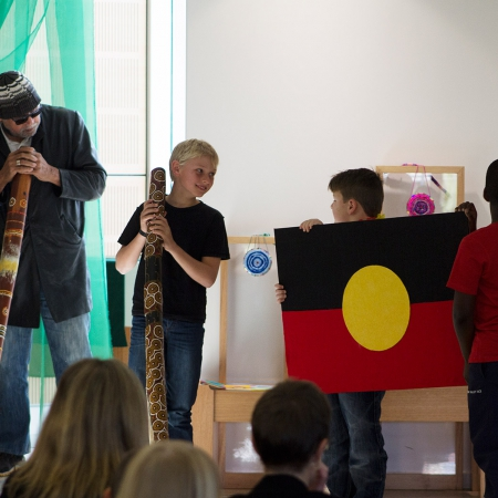 Elder Phil Narkle with Year 3 students at their Assembly