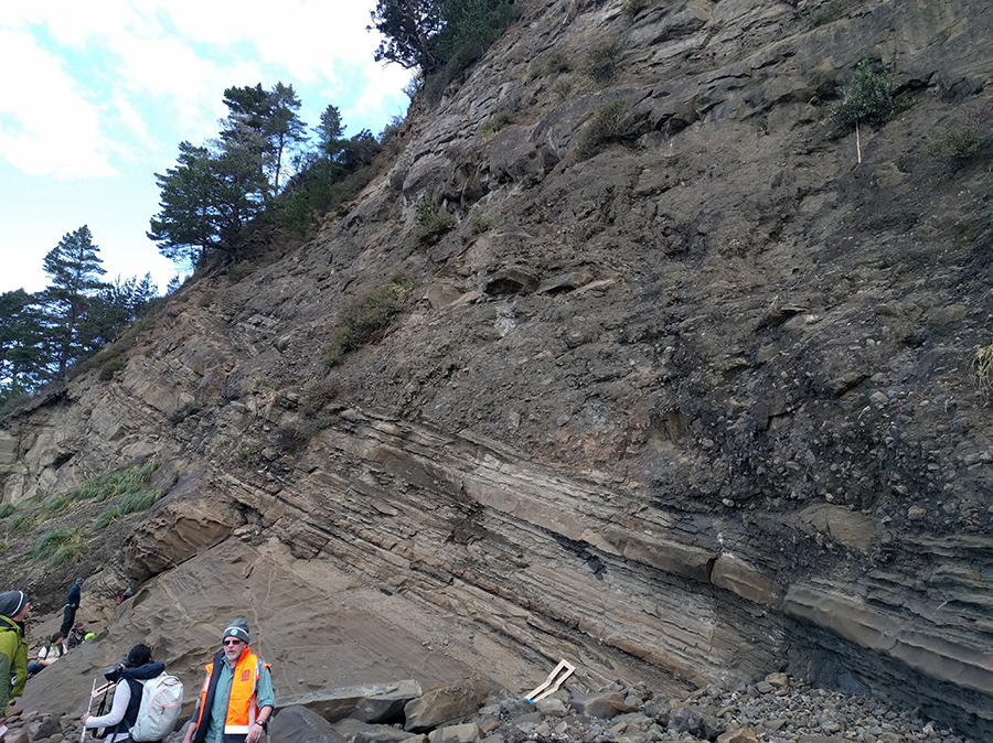 Day 7: Examination of sedimentary rocks and their layers at Waiera Place.