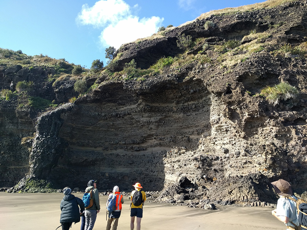Day 8: Piha Beach, examination of erosion and weathering of sedimentary rocks - erosion from salt.