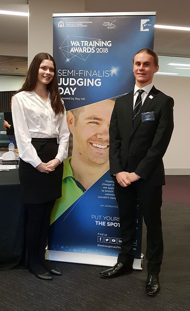 Caitlin Whittle and Jess Haydon (Year 12) at the WA Training Award interview.