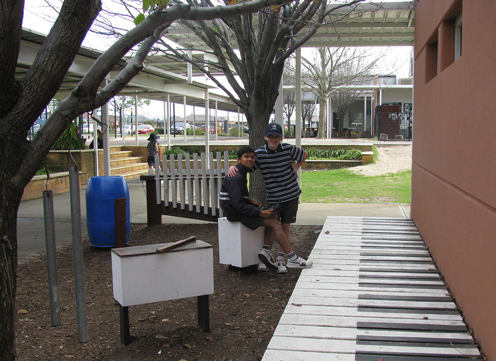 Outdoor classroom challenge in the music garden