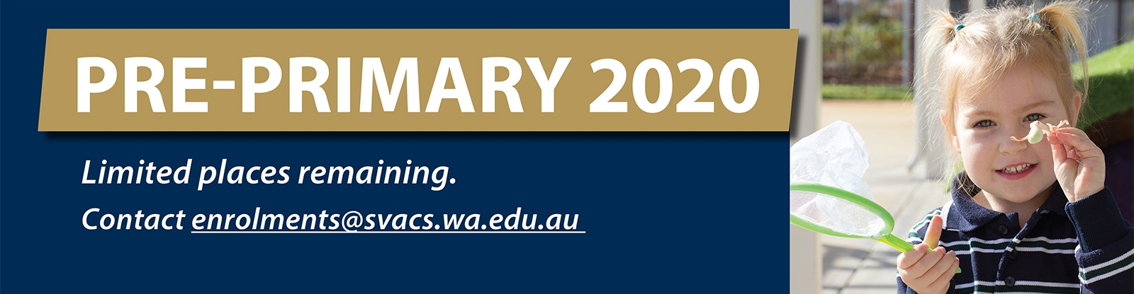 Pre-Primary 2020 places available at SVACS
